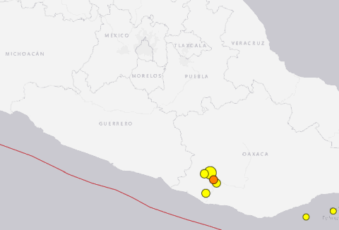 Earthquakes and Aftershocks 4.5+ in the last 7 days