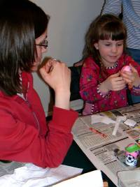 Decorating eggs - Aunt Amy and Hannah