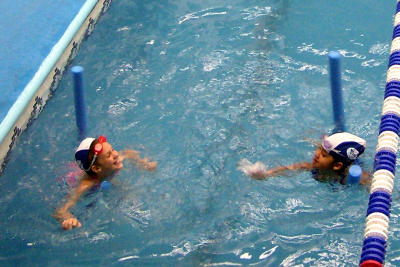 Hannah in swimming lessons
