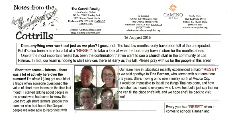 Notes from the Cottrills - August 2016 a